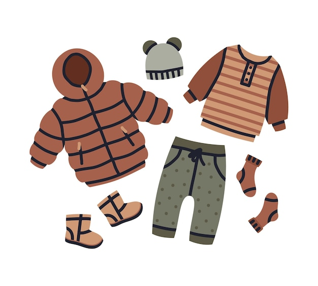 Cartoon baby winter outfit mädchen oder jungen moderne kleidung kleidungsstücke vektor kindergarten set