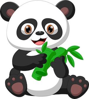 Cartoon babypanda isst bambus