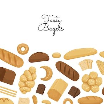 Cartoon bäckerei elemente mit exemplar illustration