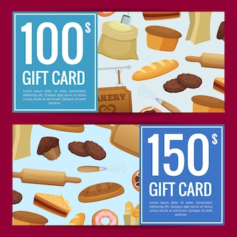 Cartoon bäckerei rabatt geschenkgutscheinvorlagen