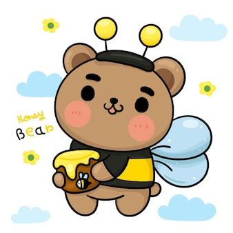 Cartoon bär honig tragen ausgefallenes bienenkostüm niedlichen tier kawaii charakter