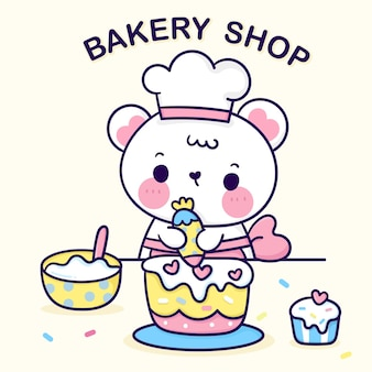 Cartoon bärenjunges süßer koch charakter backen geburtstagskuchen für bäckerei logo kawaii tier