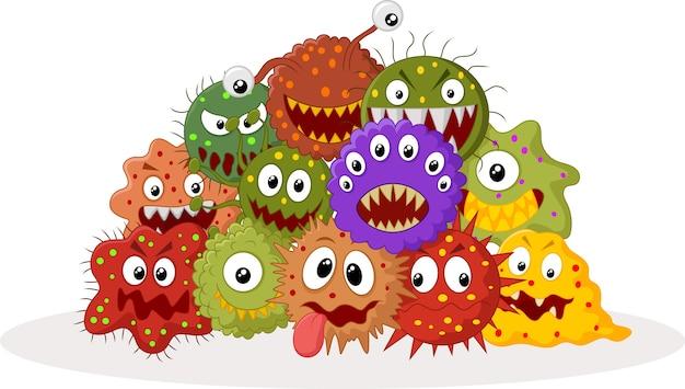 Cartoon-bakterien-kolonie