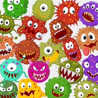 Cartoon bakterien sammlungssatz