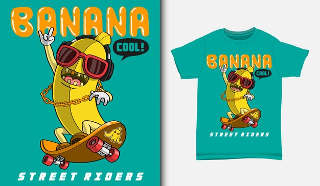 Cartoon-bananen-skater, mit t-shirt-design, hand gezeichnet