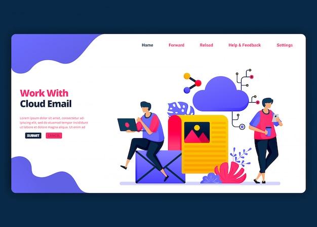 Cartoon-banner-vorlage für arbeiten mit cloud-e-mail und computer-management. kreative designvorlagen für zielseiten und websites für unternehmen.