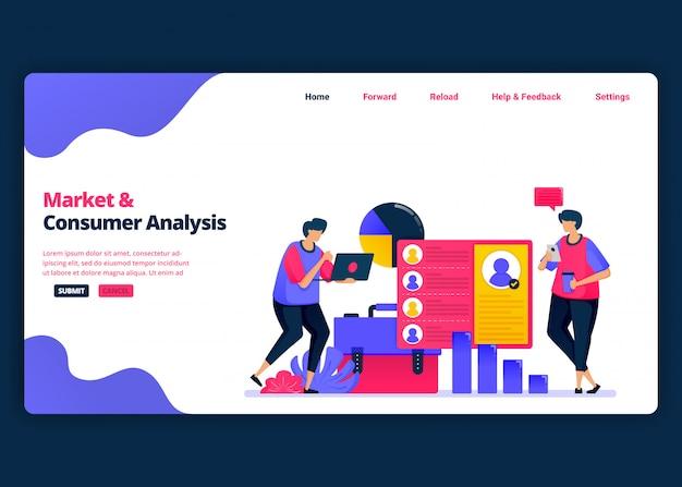 Cartoon banner vorlage für markt- und kundenanalyse mit statistiken. kreative designvorlagen für zielseiten und websites für unternehmen.