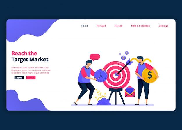 Cartoon-banner-vorlage, um den zielmarkt, den gewinn und den kundenumsatz zu erreichen. kreative designvorlagen für zielseiten und websites für unternehmen. kann für web, mobile apps, poster, flyer verwendet werden