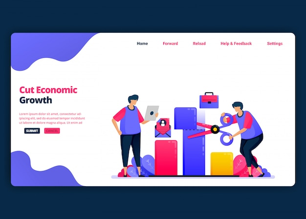 Cartoon-banner-vorlage zur reduzierung von wirtschaftswachstum und bip während der krise. kreative designvorlagen für zielseiten und websites für unternehmen.