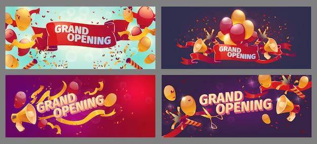 Cartoon-banner zur feierlichen eröffnung