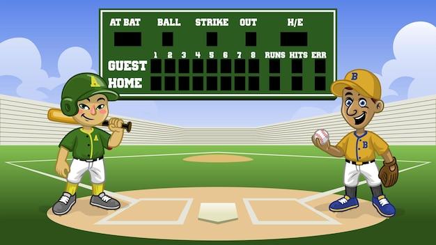 Cartoon-baseball-spiele im stadion mit bankanzeigetafel