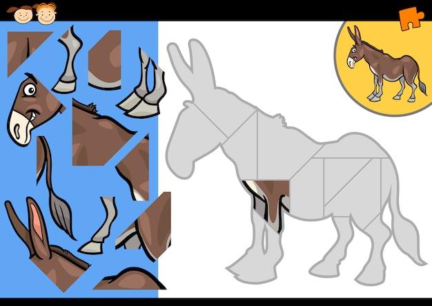 Cartoon bauernhof esel puzzle-spiel