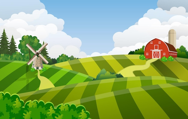 Cartoon-bauernhof-feld grünes aussaatfeld, rote scheune auf einem grünen bauernfeld
