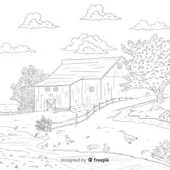Cartoon bauernhof landschaft