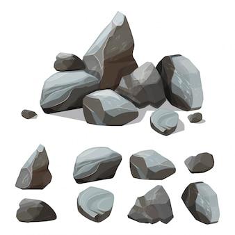 Cartoon berg steine. rocky große mauer aus kies und felsbrocken creation kit mit verschiedenen farbigen teilen von steinen