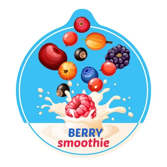 Cartoon berry smoothie aufkleber