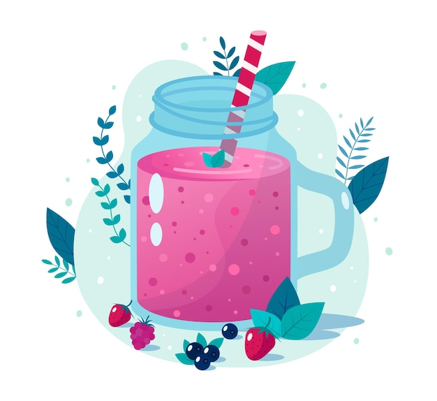 Cartoon berry smoothie