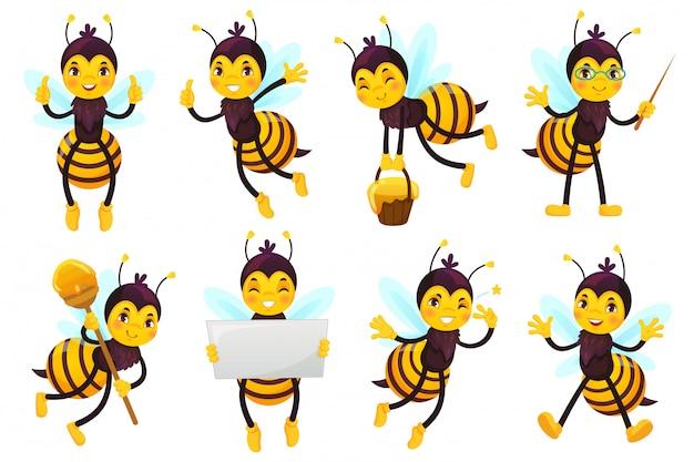 Cartoon bienenmaskottchen. nette honigbiene, fliegende bienen und glückliche lustige gelbe biene charakter maskottchen vektor-illustration gesetzt