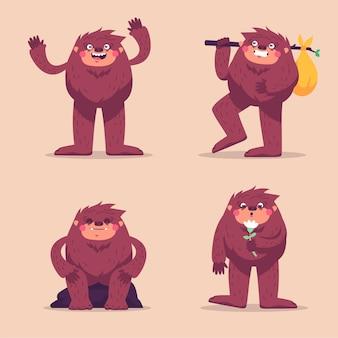 Cartoon bigfoot sasquatch charaktersammlung