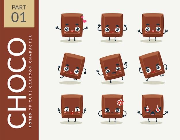Cartoon-bilder von schokolade. einstellen.