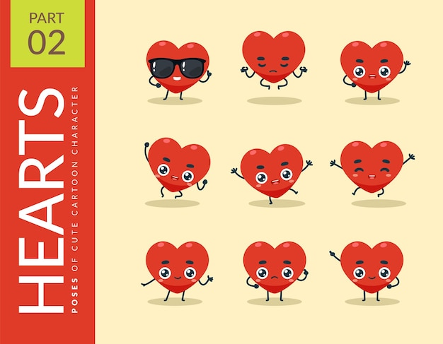 Cartoon-bilder von the red heart. einstellen.