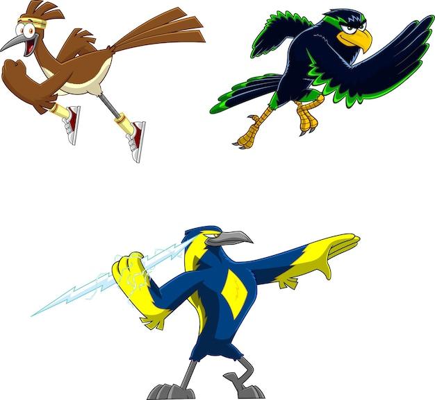 Cartoon birds charaktere