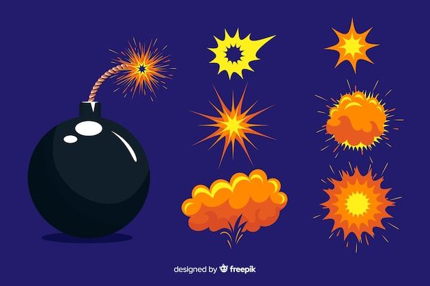 Cartoon bombe und explosion effekt set