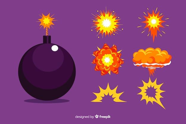 Cartoon bombe und explosion effekt set