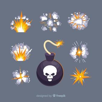 Cartoon bombe und explosionseffekt sammlung