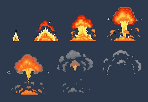 Cartoon bombenexplosionsanimation. explodierende animierte bilder, atomare explosionseffekte und explosionen rauchen illustrationsset