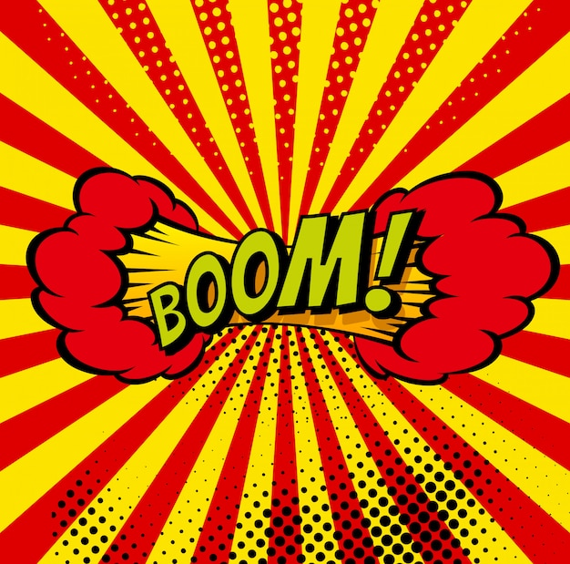 Cartoon, boom explosion comic sprechblase