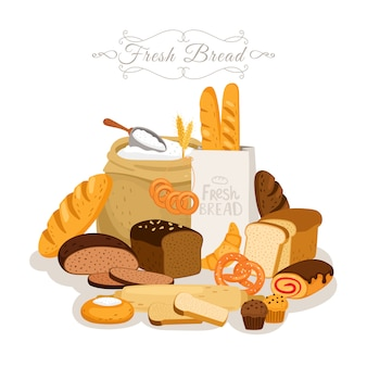 Cartoon, brotmehl und gebäck. französisches baguette- und frühstückscroissant, backsnacks und schokoladenkuchen, gebäckbrezel, brötchen und geschnittenes brot mit roggenbrot