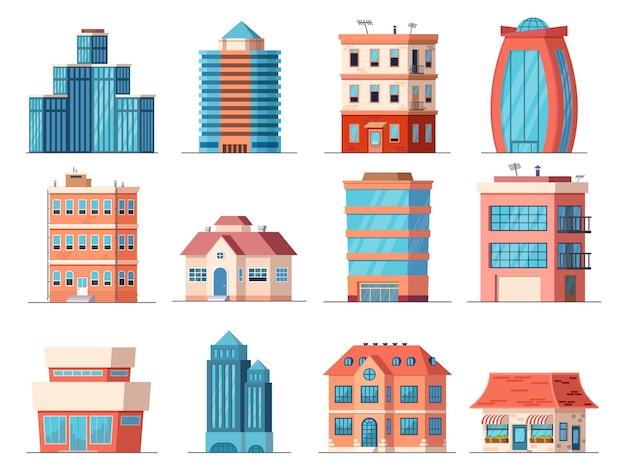 Cartoon-bürogebäude, wolkenkratzer und wohnhaus in der innenstadt. immobilien, geschäftsturm, laden- und cafégebäude. stadtvektorsatz