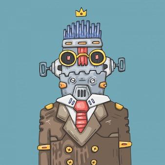 Cartoon büroroboter. lustiger robotermanager.