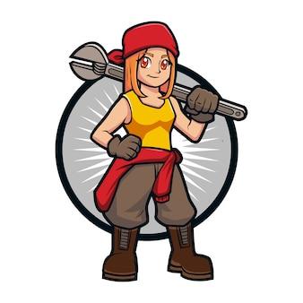 Cartoon builder girl maskottchen