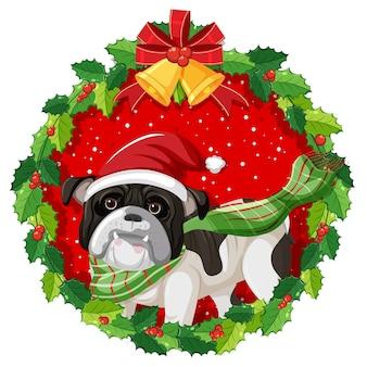 Cartoon-bulldogge im weihnachtskranz isoliert
