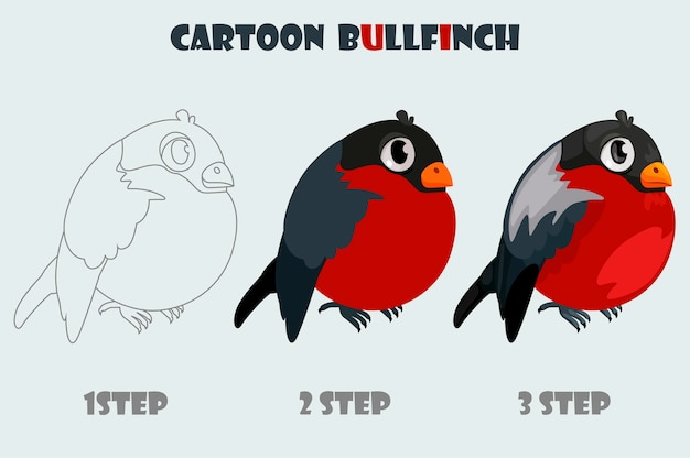 Cartoon bullfinch, isolierte 3-stufen-zeichnung. vektor wintervogel.