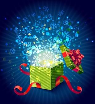 Cartoon bunte magische geschenkbox zusammensetzung