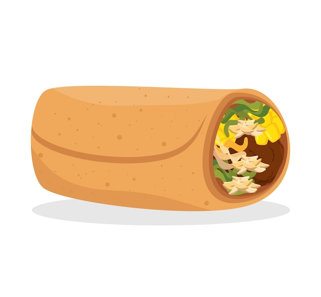 Cartoon burrito essen mexiko design isoliert