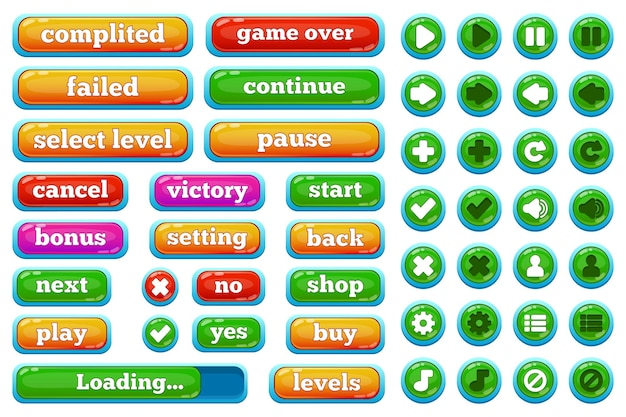 Cartoon casual videospiele benutzeroberfläche schaltflächen. lässige 2d-spielschnittstelle spielen, pausieren, stoppen, spiel über tastenvektorillustration einstellen. schaltflächen der benutzeroberfläche für mobile spiele