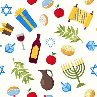 Cartoon chanukka-hintergrund-muster-jüdischer feiertag traditionelle kultur-symbol-flaches design-stil. vektor-illustration