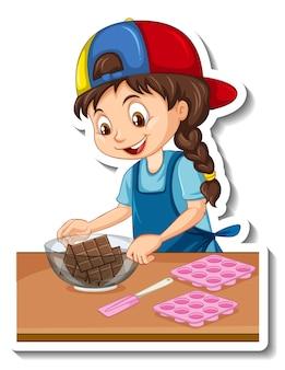 Cartoon-charakter-aufkleber ein mädchen mit backgeräten