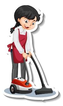 Cartoon-charakter-aufkleber mit einem hausmädchen mit staubsauger