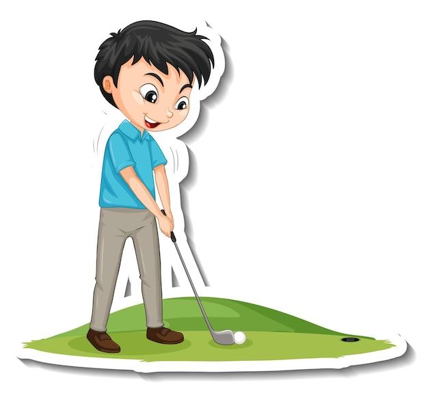 Cartoon-charakter-aufkleber mit einem jungen, der golf spielt