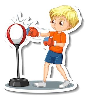 Cartoon-charakter-aufkleber mit einem jungen, der stanzt