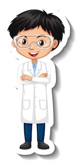 Cartoon-charakter-aufkleber mit einem jungen im wissenschaftsgewand