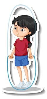 Cartoon-charakter-aufkleber mit einem mädchen, das seil springt