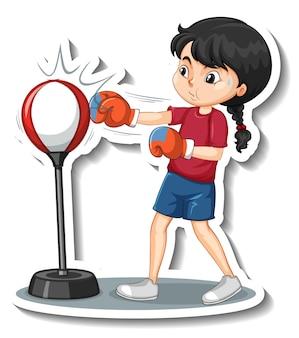 Cartoon-charakter-aufkleber mit einem mädchen, das stanzt