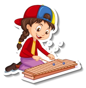 Cartoon-charakter-aufkleber mit einem mädchen, das xylophon spielt