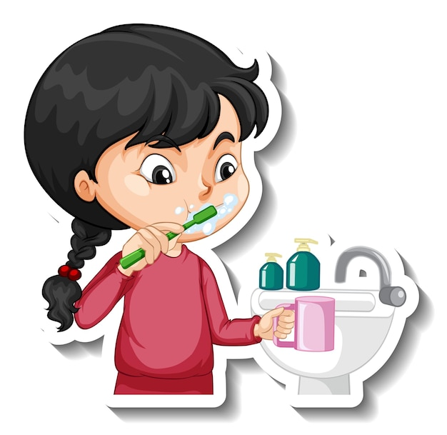 Cartoon-charakter-aufkleber mit einem mädchen, das zähne putzt
